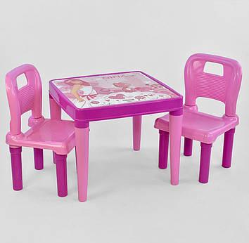 Стіл з двома стільчиками пластикові для дітей 03-414 , колір рожевий