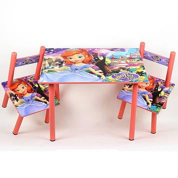 Набір дитячої дерев'яної меблів столик і 2 стільці для дівчинки Принцеса Софія