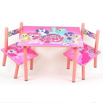 Яскравий дерев'яний комплект меблів для дитини столик з двома стільчиками M 1522 Рожевий поні