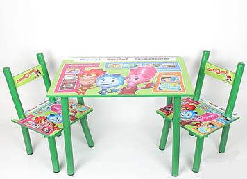 Дитячий столик зі стільчиками з героями мультфільму Фиксики, дерев'яний, фарбований