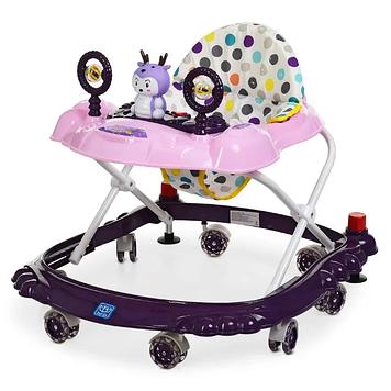 Ходунки каталка с игровой панелью и силиконовыми колесами для девочки Детские ходунки цвет фиолетовый