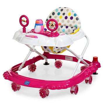 Детские ходунки каталка с силиконовыми колесами для девочки Ходунки с звуковыми и световыми эффектами розовые