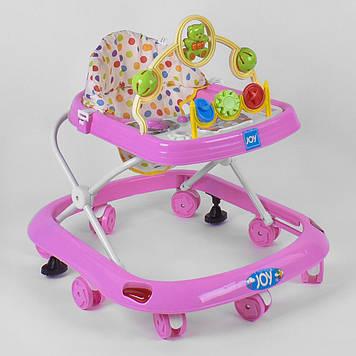 Музыкальные ходунки для малыша с игровой панелью Ходунки детские с мягким сиденьем и тормозом Ходунки розовые