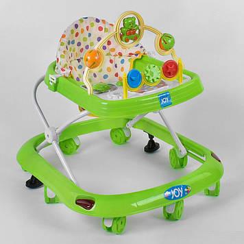 Музыкальные ходунки для детей от 6-ти мес Детские ходунки с регулировкой по высоте и игровой панелью зеленые