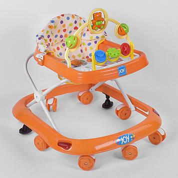 Детские ходунки со звуковыми эффектами Ходунки с игровой панелью с игрушками и мягким сиденьем оранжевые