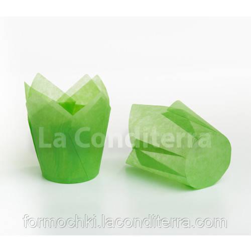 Формочки Тюльпани зелені, паперові форми для кексів (100 шт., d=60 мм, висота бортика=60/90 мм)