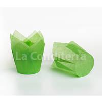 Формочки Тюльпаны зеленые, бумажные формы для кексов (150 шт., d=50 мм, высота бортика=60/80 мм), фото 1