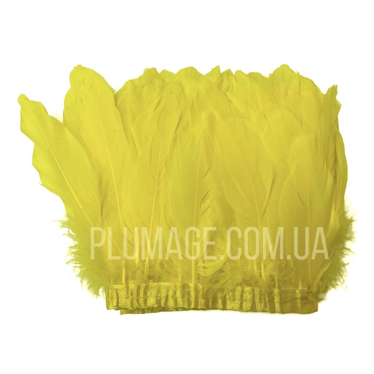 Перьевая тесьма из гусиных перьев. Цвет желтый. Цена за 0,5 м