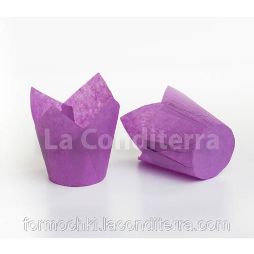 Бумажные формочки для кексов Тюльпан пурпурные (150 шт, d=35 мм, высота бортика=35/50 мм)