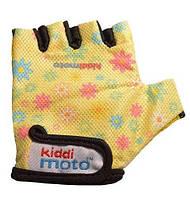 Перчатки детские Kiddi Moto жёлтые с цветами, размер S на возраст 2-4 года