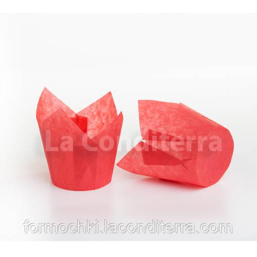 Паперові форми для випічки червоні Тюльпани (150 шт., d=50 мм, висота бортика=60/80 мм)