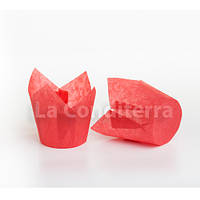 Бумажные формы для кексов Тюльпан красные (150 шт., d=50 мм, высота бортика=50/75 мм), фото 1