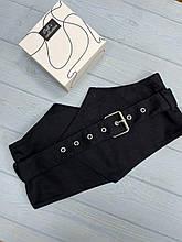 Женский черный широкий тканевый ремень-корсет на талию