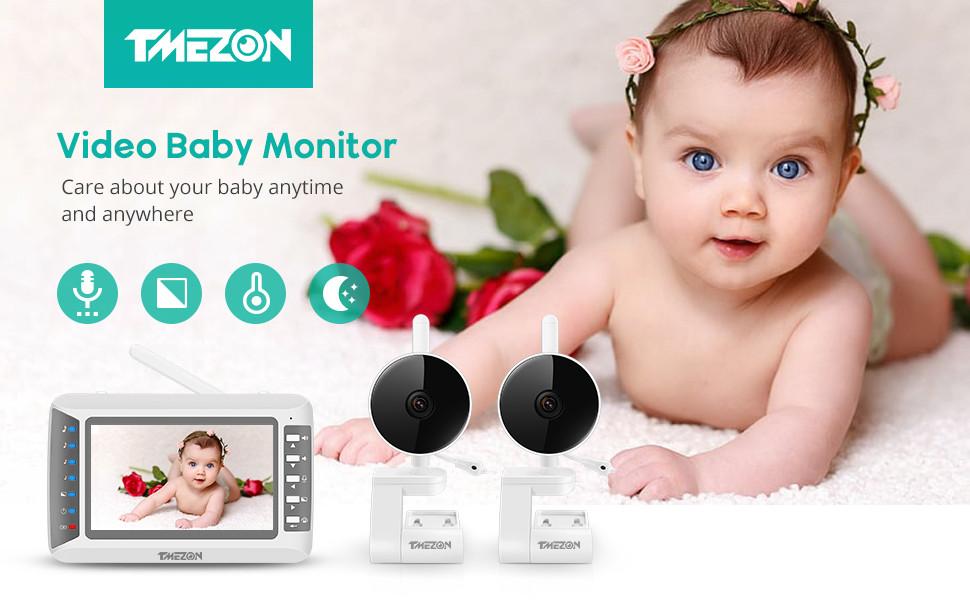 Відеоняня радіоняня няня Baby Monitor TMEZON MZ-BM402 (В комплекті 2 КАМЕРИ) 4.3 ДЮЙМА ЕКРАН