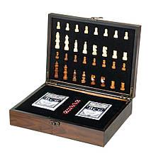 Набір ігор в дерев'яному боксі (шахи, карти, кістки) (8718-005)