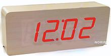 Стильные настольные часы под дерево VST-865 с красной подсветкой