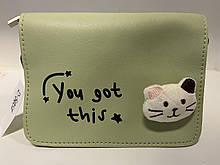 Стильная женская сумка с котиком D5054 Зеленая