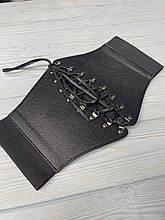 Черный женский корсет пояс-резинка на шнуровке ремень портупея на талию на кнопках и завязке