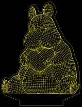 Акриловий світильник-нічник Бегемотик з серцем жовтий tty-n000708