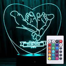 Акриловий світильник-нічник з пультом 16 кольорів подарунок новонародженому tty-n000060