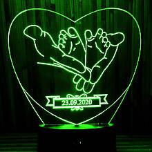 Акриловий світильник-нічник подарунок новонародженому зелений tty-n000055