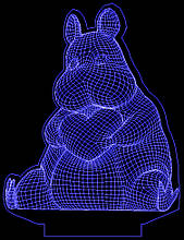 Акриловий світильник-нічник Бегемотик з серцем синій tty-n000705