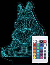 Акриловий світильник-нічник з пультом 16 кольорів Бегемотик з серцем tty-n000710