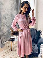 Шикарне шовкове міді плаття з поясом, фото 1