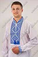 Мужская белая вышиванка Федор голубой орнамент ДР