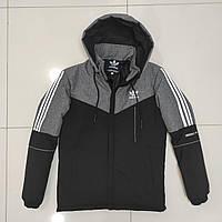 Зимова чоловіча куртка Adidas розмір норма 48-56,колір чорний з сірим