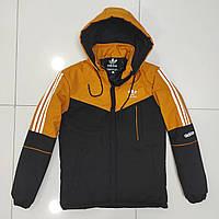 Зимова чоловіча куртка Adidas розмір норма 48-56,колір чорний з гірчичним