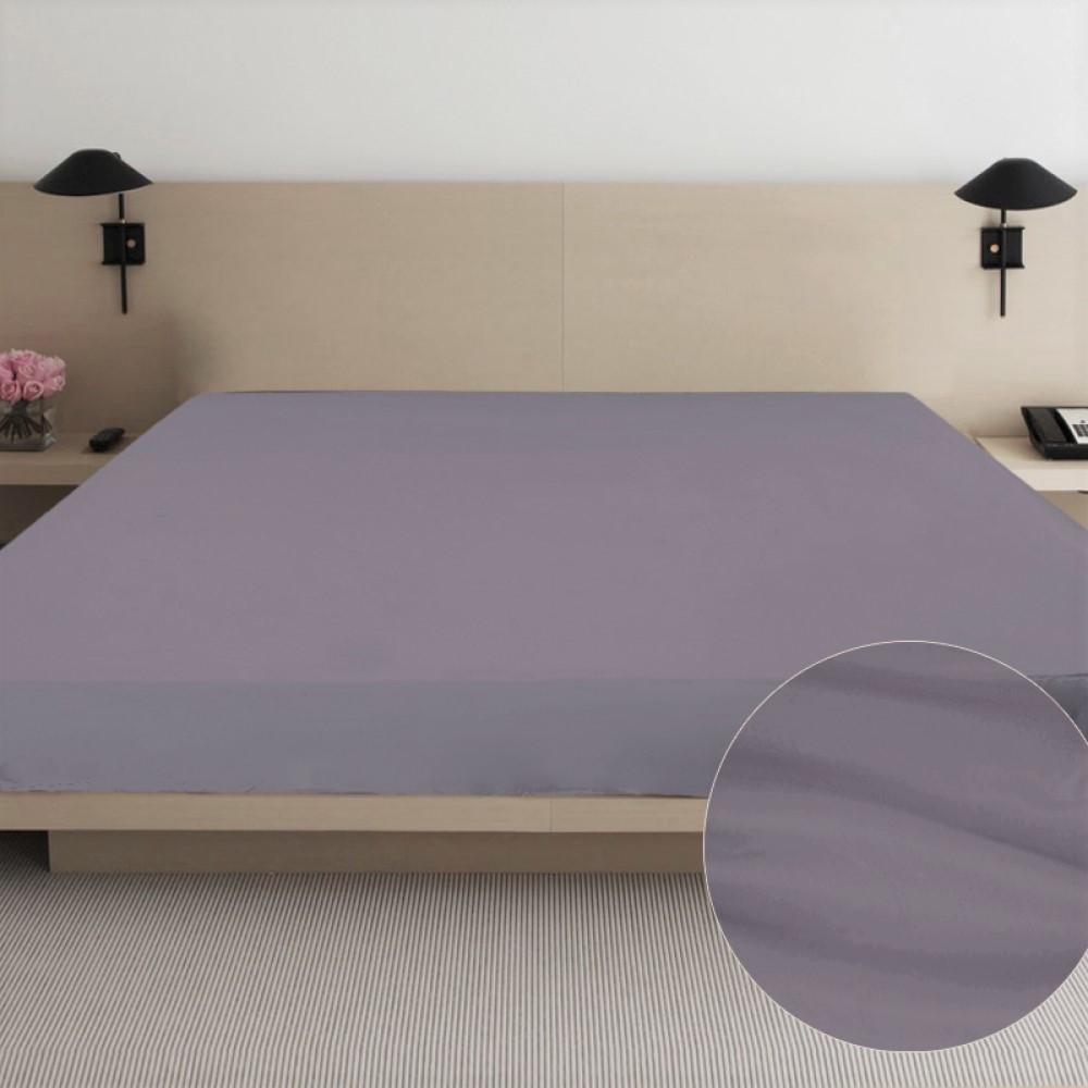 Простынь из сатина Ярослав 180х215 см серо-лиловый