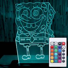 Акриловый светильник-ночник с пультом 16 цветов Губка Боб tty-n000033