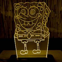 Акриловый светильник-ночник Губка Боб желтый tty-n000010