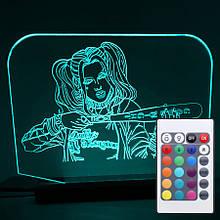 Акриловый светильник-ночник с пультом 16 цветов Харли Квинн (Harley Quinn) tty-n000030
