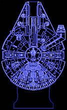 Акриловый светильник-ночник Тысячелетний Сокол (Millennium Falcon) синий tty-n000722
