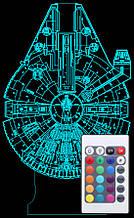 Акриловый светильник-ночник с пультом 16 цветов Тысячелетний Сокол (Millennium Falcon) tty-n000727