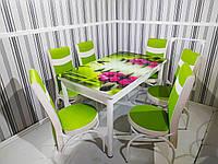 Распродажа! Комплект Большой стеклянный стол для кухни и 6 стульев Металлический каркас Турция