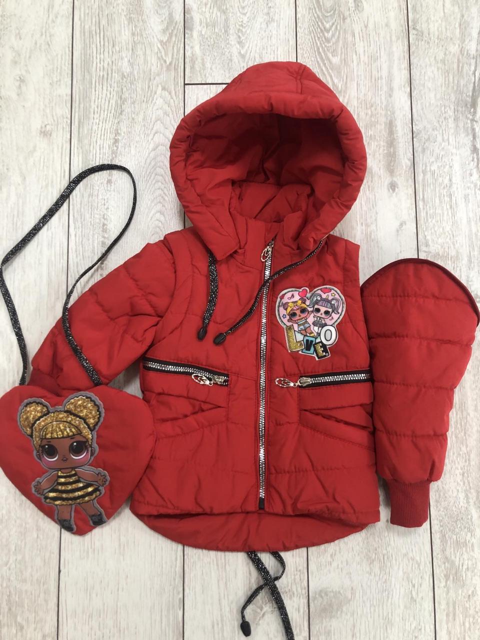 Детская демисезонная куртка для девочек жилет 22 красный