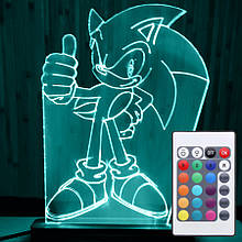 Акриловый светильник-ночник с пультом 16 цветов Соник 2 tty-n000027