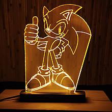 Акриловый светильник-ночник Соник 2 желтый tty-n000004