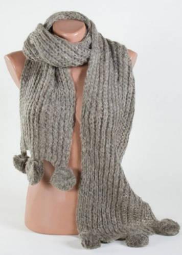 Теплый оригинальный женский шарф Traum 2483-15, серо-зеленый