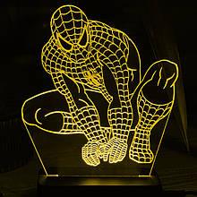 Акриловый светильник-ночник Человек-Паук (Spider-Man) желтый tty-n000015