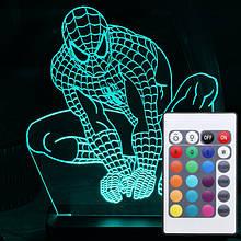 Акриловый светильник-ночник с пультом 16 цветов Человек-Паук (Spider-Man) tty-n000038
