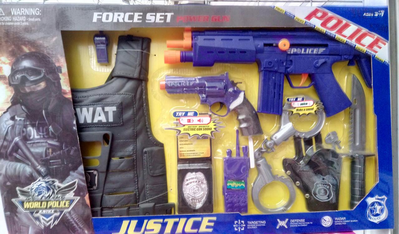 Детский набор полицейского с автоматом, жилетом, звук, качество, в коробке