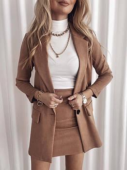 Женский стильный замшевый костюм с юбкой и пиджаком (Норма)