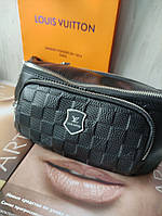 Мужская кожаная сумка бананка черная