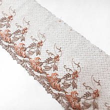 Ажурное кружево вышивка на сетке, цветная вышивка на бежевой сетке, ширина 22 см