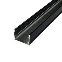 Профіль чорний алюмінієвий накладної 20х30 ЛП20А анодований без розсіювача 2м (ціна 1м) BIOM