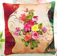 "Вышивка лентами подушки ""Цветы на подушке"""